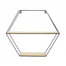 Metallist riiul 'Hexagonal' 46x10x40cm